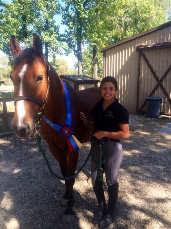 Vicky Guedez and her horse Aragon October 2014